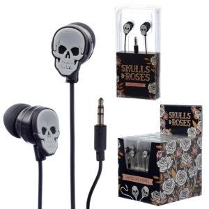 Funky Earphones - Skulls and Roses Design