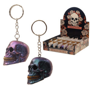 Gothic Metallic Skull Keyring
