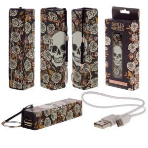 Handy Portable USB Power Bank - Skull  and  Roses Design