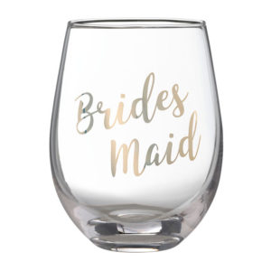 "Gold ""Bridesmaid"" Stemless Wine GlassGold ""Bridesmaid"" Stemless Wine Glass"