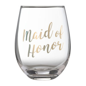"""Gold """"Maid of Honor"""" Stemless Wine GlassGold """"Maid of Honor"""" Stemless Wine Glass"""