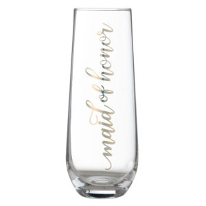"Gold ""Maid of Honor"" Stemless Champagne GlassGold ""Maid of Honor"" Stemless Champagne Glass"