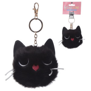 Fun Collectable Pom Pom Keyring - Black Cat
