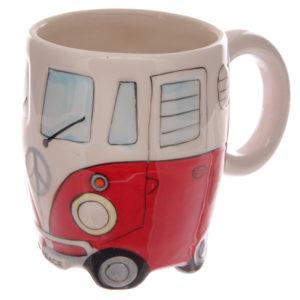 Funky Novelty Red Camper Van Design Ceramic Mug
