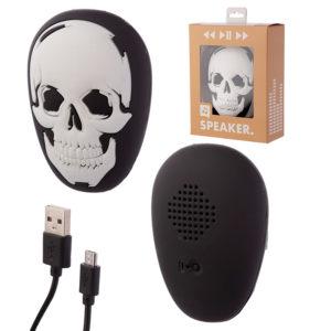 Portable Bluetooth Speaker - Black and White Skull