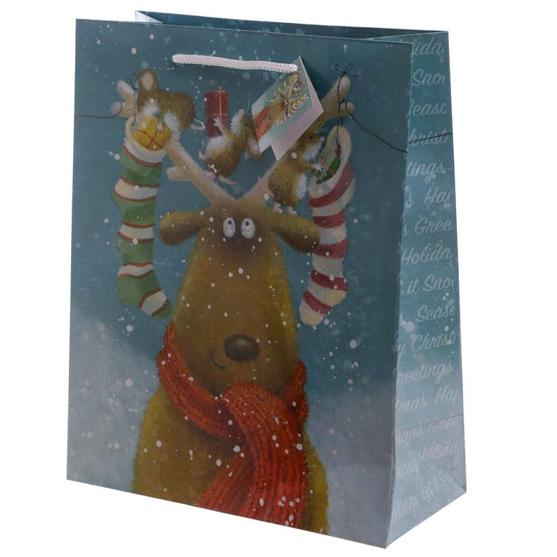 Christmas Reindeer Design Large Glossy Gift Bag
