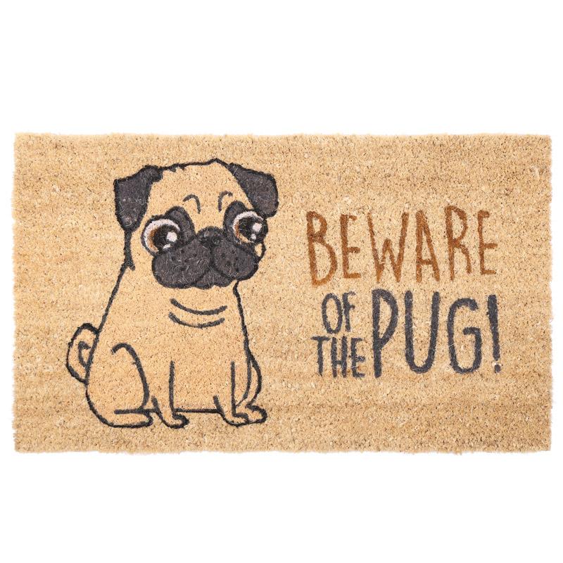 Coir Door Mat - Beware of the Pug