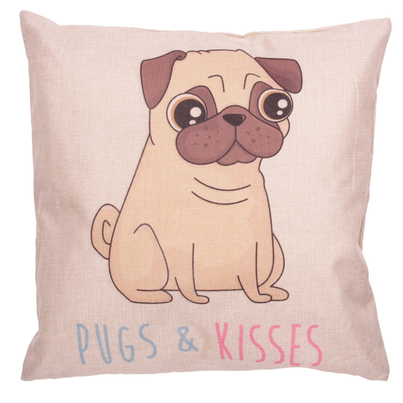 Cushion with Insert - PUGS  and  KISSES
