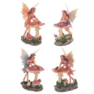 Cute Flower Fairy Leaning on Mushroom Figurine