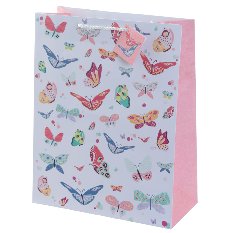 Decorative Butterfly Design Large Glossy Gift Bag