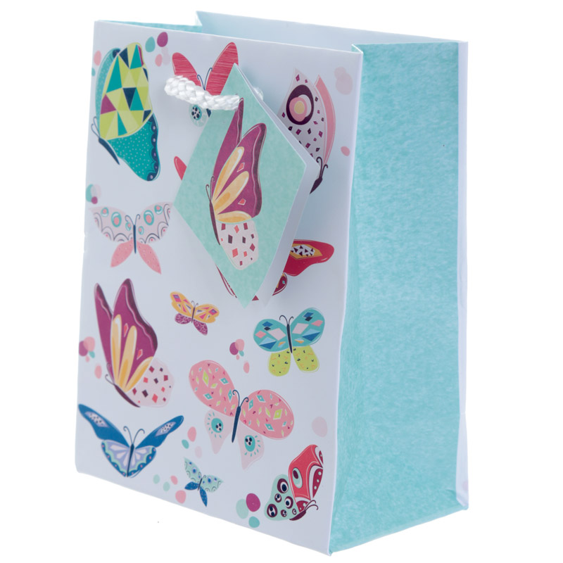 Decorative Butterfly Design Small Glossy Gift Bag