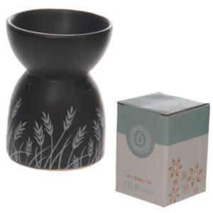 Decorative Ceramic Black and White Grass Design Oil Burner