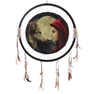 Decorative Fantasy Wolf and Women Dreamcatcher Large