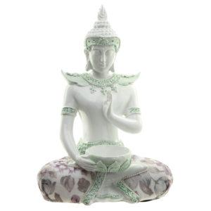 Decorative Floral Thai Buddha Meditation Teal Light Holder