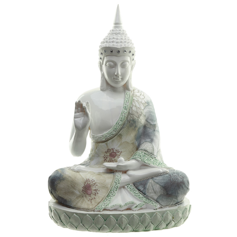 Decorative Floral Thai Buddha Spiritual Focus Figurine