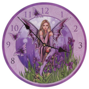 Decorative Flower Fairy Purple Iris Wall Clock