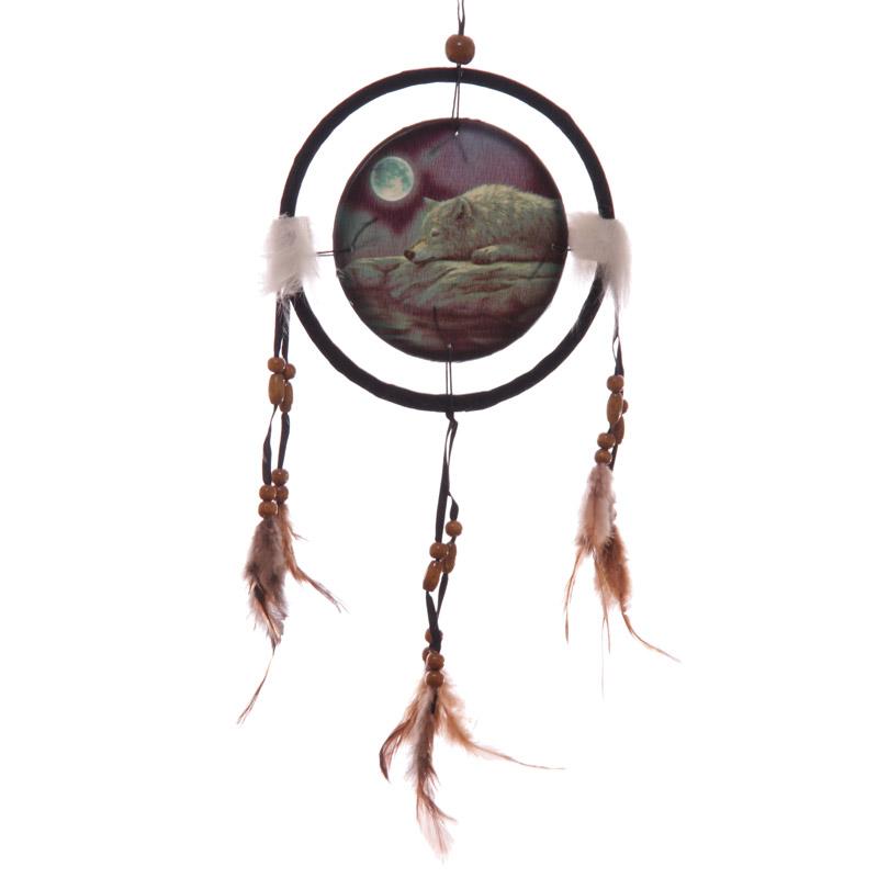 Decorative Quiet Night of the Wolf 16cm Dreamcatcher