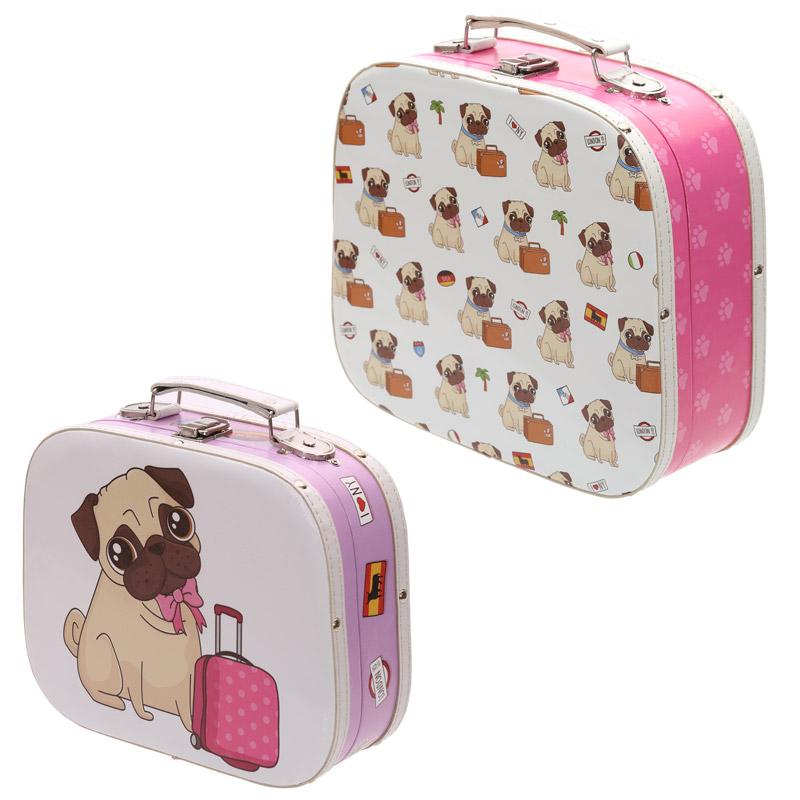 Decorative Set of 2 Pug Design Craft Cases