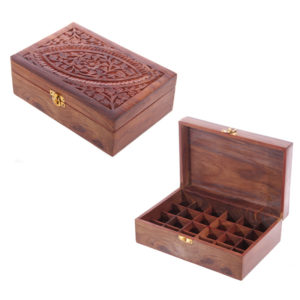 Decorative Sheesham Wood Carved Compartment Box Large