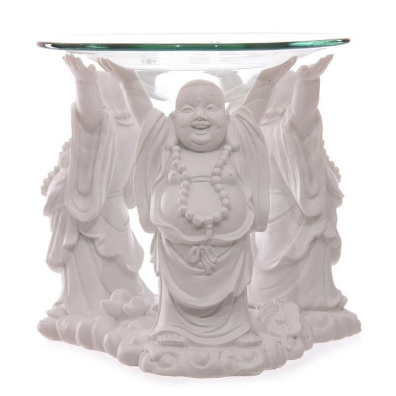 Decorative White Chinese Buddha Oil Burner with Glass Dish