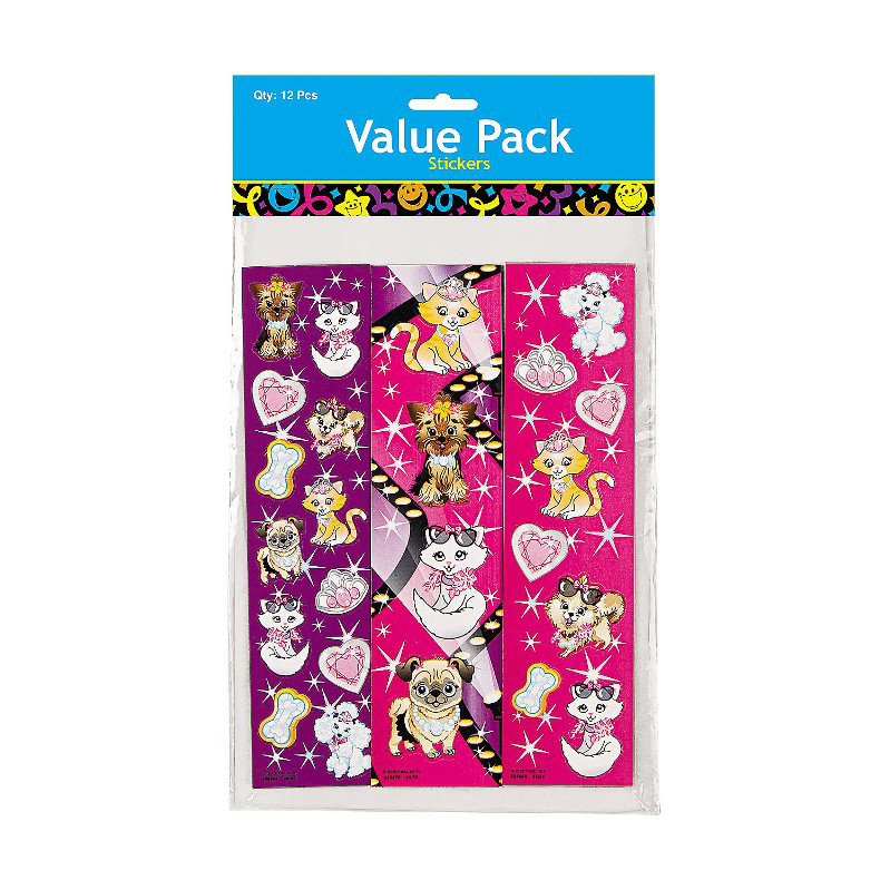 Pack of 12 Dog And Cat Sticker Strips