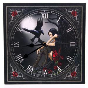 Fantasy Design Dark Angel with Raven Wall Clock
