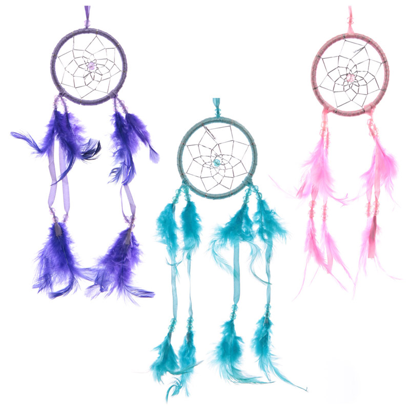 Fun Colourful Feathered Dreamcatcher 8cm