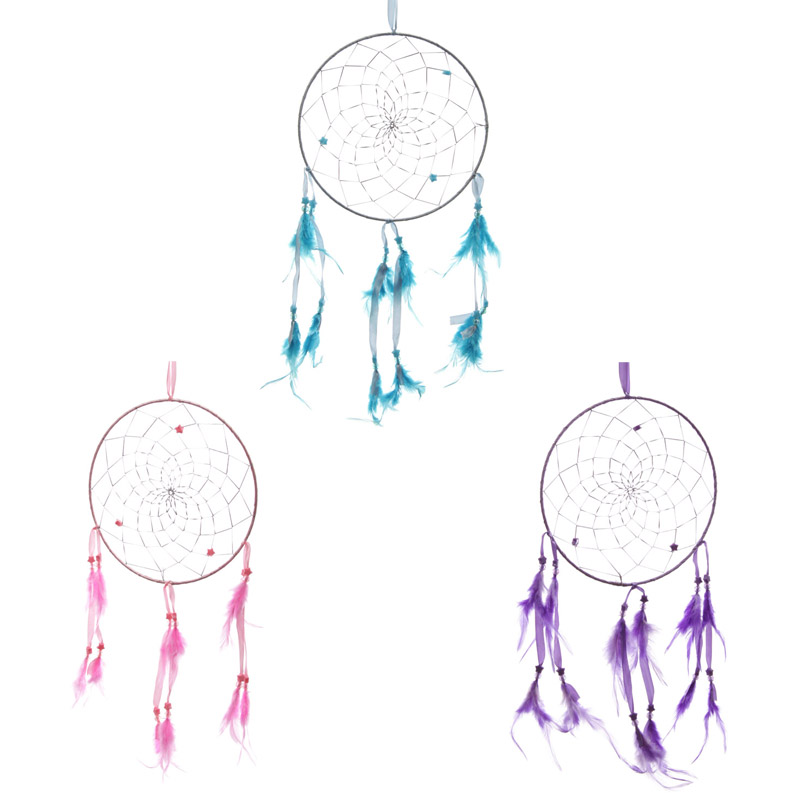 Fun Colourful Feathered Dreamcatcher with Star Beads