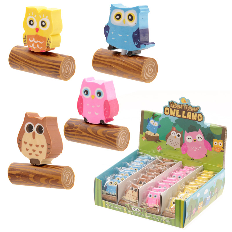 Fun Cute Owl Eraser Set