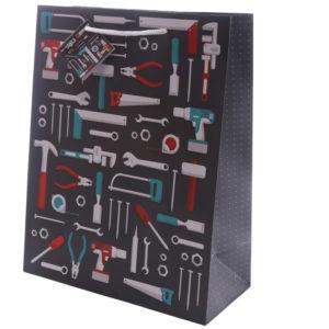 Fun Dad Tool Design Large Glossy Gift Bag