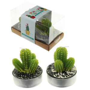 Fun Decorative Spiky Cactus Candles - Set of 2 Tea Lights