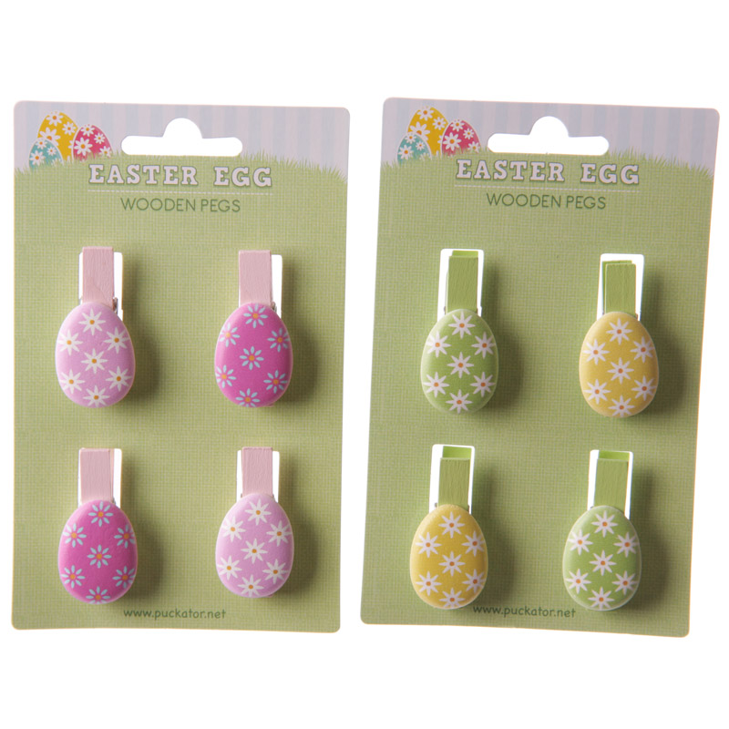 Fun Easter Egg Design Pack of 4 Decorative Craft Pegs