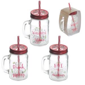 Fun Glass Drinking Jar with Straw - Christmas Designs