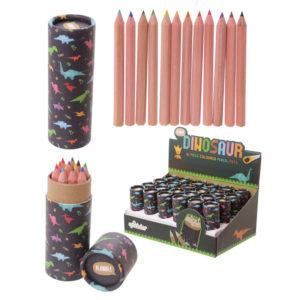 Fun Kids Colouring Pencil Tube - Dinosaur Design