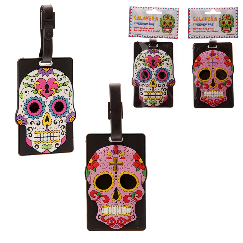 Fun Novelty Day of the Dead Skull PVC Luggage Tags
