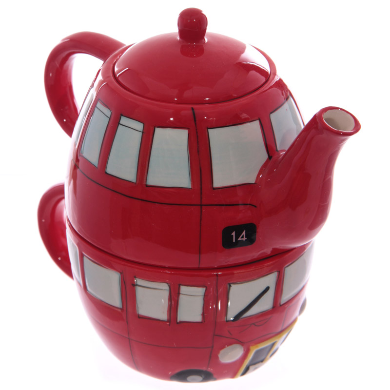 Fun Novelty Routemaster Red Bus Teapot and Cup Set for 1