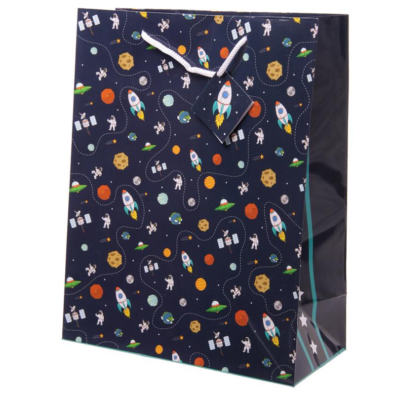 Fun Space Theme Large Glossy Gift Bag