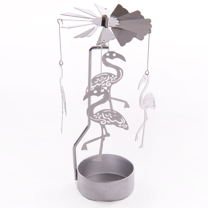 Funky Flamingo Design Metal Tealight Spinner