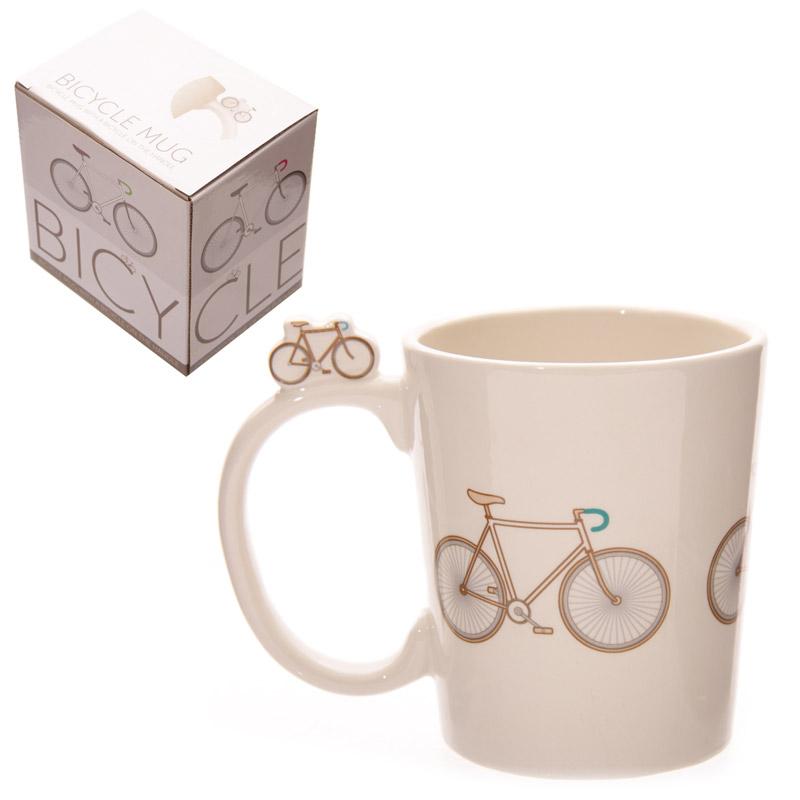 Funky Retro Bicycle Design Shaped Handle Ceramic Mug