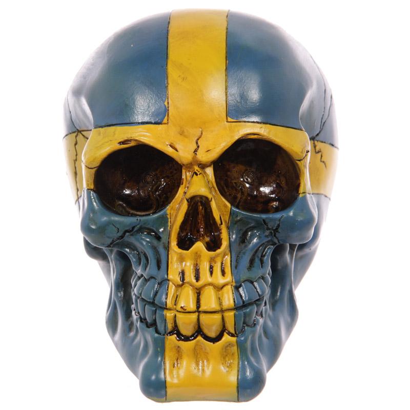 Gruesome Swedish Flag Skull Ornament
