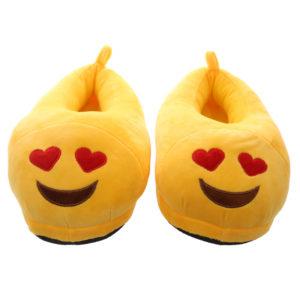 Heart Eyes Emoti Pair of Unisex Slippers