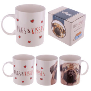 New Bone China Mug - Cute Love Pugs