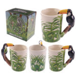 Novelty Ceramic Jungle Mug with Toucan Shaped Handle