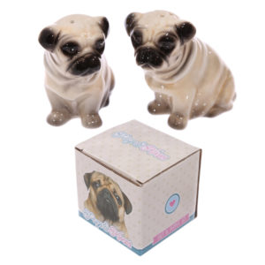 Novelty Ceramic Pug Shaped Salt and Pepper Set