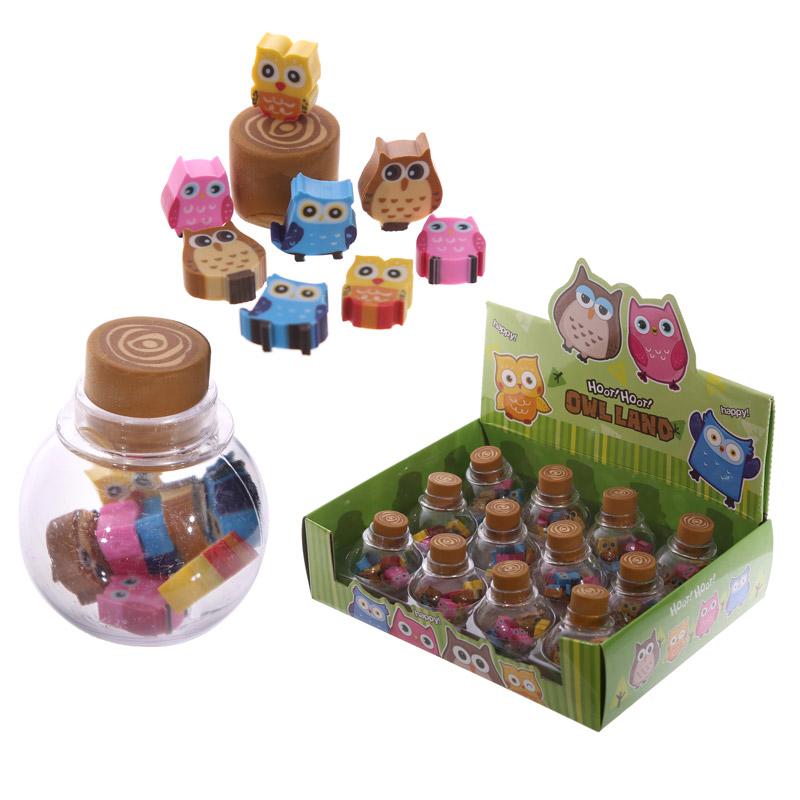 Novelty Kids Owl Design Mini Eraser Set