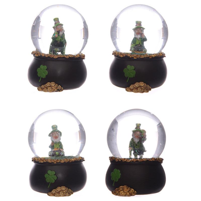 Novelty Lucky Leprechaun Pot of Gold Snow Globe