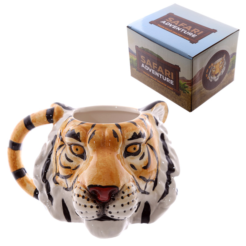 Novelty Tiger Head Shaped Ceramic Mug