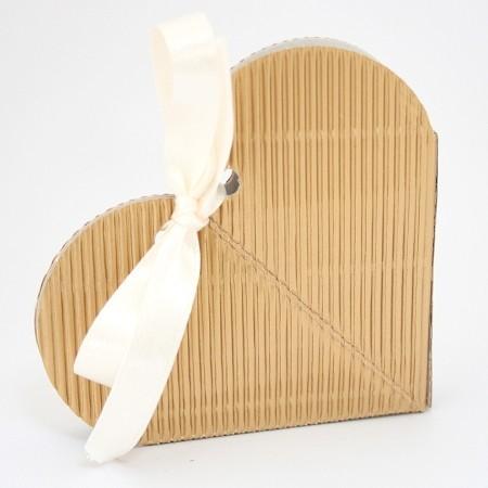 Gold Heart Corrugated Onda Favor Box 65 x 15