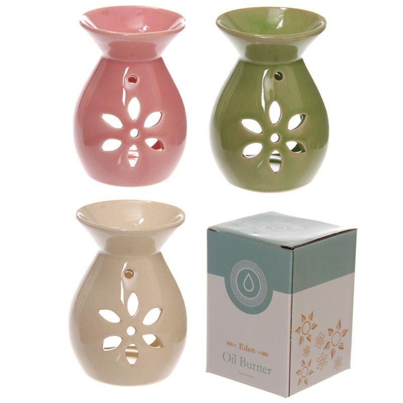 Simple Coloured Flower Cut Out Design Ceramic Oil Burner