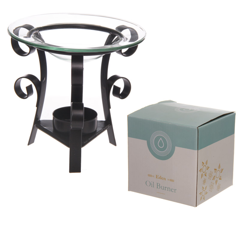 Simple Metal Double Scroll Design Oil Burner with Glass Dish